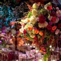 Gorgeous table design and floral arrangement from a Vineyard Wedding by David Tutera! David Tutera, Wedding Table Centerpieces, Reception Decorations, Reception Table, Reception Ideas, Tall Centerpiece, Flower Centerpieces, Dinner Table, Wedding Reception