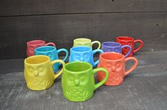 Small Bright Ceramic Owl Mug - Hand Painted Child's Mug or Espresso Cup - Pick Your Color