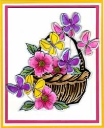 Butterflies in a Basket Card - To see more ideas and order Stamps by Judith & Heather go to www.stampsbyjudith.com