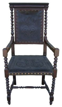 Renaissance revival chair with tooled leather - $950.