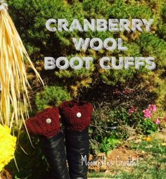 Wool Boot Cuffs Burgundy Cranberry Boot Socks Legwarmers Pewter Button Calf Warmers Preppy Boho Handmade in USA