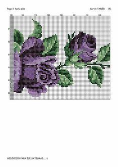 This Pin was discovered by Nur Cross Stitch Rose, Cross Stitch Flowers, Cross Stitch Charts, Cross Stitch Patterns, Crochet Patterns, Swedish Weaving, Fair Isle Pattern, Purple Roses, Cross Stitching