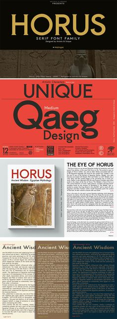 While Horus Font Family is inspired by Ancient Egypt and ancient stone carving inscriptions, the fact that this style was designed with today's modern serif font concept makes it a versatile family that can be used in many different design projects.  #seriffont #fontfamily #typography #printdesign #logo #invitations #printdesign #weddingcard #packaging #stationery #advertising #elegant #feminine #classic #socialmedia #webdesign #resources
