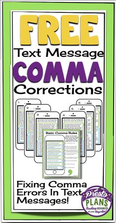 Free Text Message Comma Corrections: Includes Poster & Fun Activity! By Presto Plans