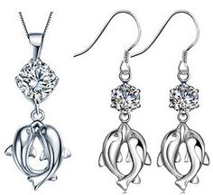 Silver Pair of Dolphins with AAA Simulated Diamond Necklace and Drop Earrings