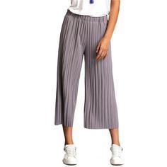 Sheinside 2016 Women Summer New Style Plain Elastic Waist Pleated Trousers Loose Mid Waist Wide Leg Pants