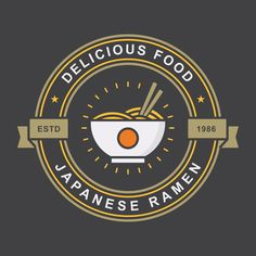 Ramen Vintage Badge Food Logo Design, Logo Food, Logo Rice, Ramen, Chef Logo, Badge Template, Packaging, Watercolor Artwork, Logo Design Inspiration