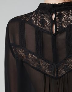 SHEER BLOUSE WITH EMBROIDERED NECKLINE from ZARA