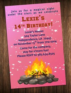 Printable campfire bonfire campout birthday party invitation bonfire party invitation outdoor campfire birthday party invite diy printable customized personalized digital file filmwisefo Image collections