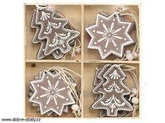 Vánoční ozdoby na stromeček dřevěné, 12ks
