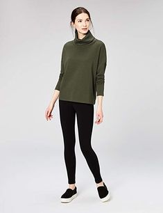 Amazon.com: Daily Ritual Women's Terry Cotton and Modal Funnel Neck Pullover: Clothing Funnel Neck, Heather Grey, What To Wear, Normcore, Turtle Neck, Pullover, My Style, Sweaters, Cotton