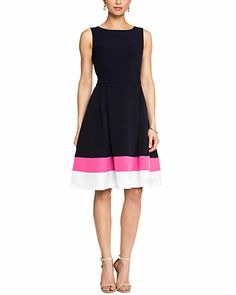 Jones New York Navy Multicolor Colorblocked A-Line Dress