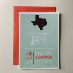Love the Texas-style invites!!!!  modern mint & coral state-themed wedding invitation | b is for bonnie design