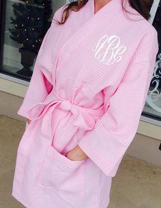 Monogrammed Pink Waffle Weave Kimono Robe font by MONOGRAMSINC