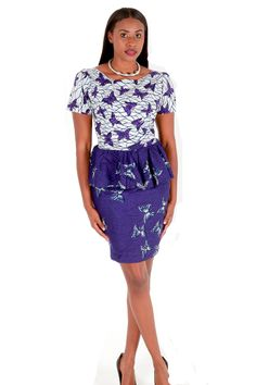 African Print Dress, Purple And White Peplum Dress
