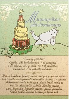 """Moomin's Icecream Secret (recipe)"" I haven't translated the recipe yet. Tove Jansson, Moomin Shop, Finnish Recipes, Reset Girl, Baking With Kids, Old Recipes, Kermit, Recipe Cards, Sober"