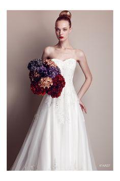 PASTORE BRIDAL Collection S/S 2014 Romantico abito in tulle con preziose applicazioni di pizzo e lungo strascico
