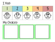 "Anger Management Choice Board - kids can self-monitor emotions and pick a calming technique from the choices supplied while taking a break to calm down. Create multiple choices using 2""x2"" square picture cards attached via velcro :)"