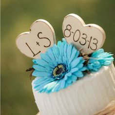 Rustic Wedding Cake Topper w/ Initials & Date - MyWedStyle.com