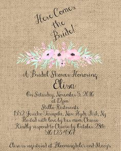 Here Comes the Bride  5x7 Digital Printable Burlap by Sweetness8
