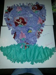 Mermaid tail tie blanket handmade with Ariel fleece by me Cheredith Nelson ❤️ like my page on Facebook for more it's called Fin in Knots