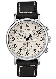 cf4c17e29 Timex Herren Chronograph Quarz Uhr mit Leder Armband TW2R42800: Amazon.de:  Amazon.