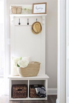An entryway hall tree bench that is perfect for providing organization for small spaces! It works great in entryways, mudrooms, hallways, and more.