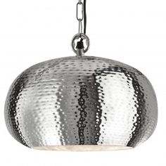 Hammered Shiny Nickel Elipse Beaten Pendant Light