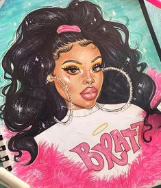 BRATZ 💅🏾💖💎 I'm actually super late with this but I hope u guys like it☺️💕 Black Girl Cartoon, Dope Cartoon Art, Black Art Painting, Black Artwork, Black Love Art, Black Girl Art, Art Girl, Drawings Of Black Girls, Black Art Pictures