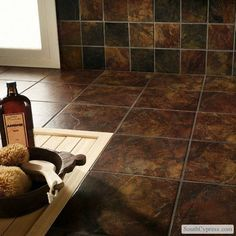 "Marazzi Imperial Slate 12"" x 12"" Ceramic Field Tile in Rust & Reviews 