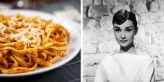 Audrey Hepburn's Spaghetti al Pomodoro Recipe - The famed actress ate it once a week. Spaghetti Pomodoro Recipe, Spaghetti Recipes, Pasta Recipes, Dinner Recipes, Cooking Recipes, Dinner Ideas, Grandma's Recipes, Pasta Spaghetti, What's Cooking