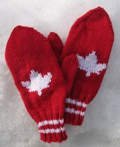 Ravelry: Red and White Maple Leaf Mittens FREE knitting pattern by Darcie Story Orth canada Knitted Mittens Pattern, Crochet Mittens, Fingerless Mittens, Knitting Patterns Free, Free Knitting, Baby Knitting, Free Pattern, Sweater Mittens, Crochet Pattern