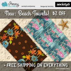New Beach Towels with 5% OFF + FREE SHIPPING ON EVERYTHING, until Sunday, June 5. Use promo link: https://society6.com/pommy/beach-towels?promo=4B3PHCJXPPRJ