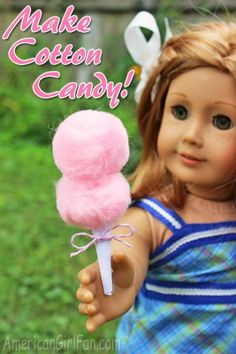 American Girl Clark Doll With Book - Baby Doll Zone Make this cute DIY Cotton Candy craft for our american girl dolls Comida American Girl, Casa American Girl, American Girl Food, American Girl Birthday, American Girl Parties, American Girl Crafts, American Girl Outfits, Vegan Quesadilla, American Girls