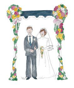Watercolour wedding portrait