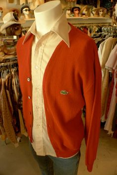 Vintage Izod cardigan over 1970s men's button down