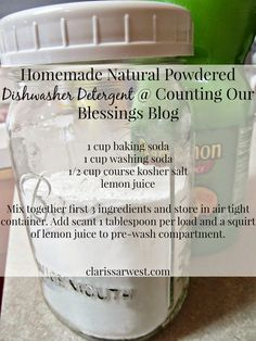 Homemade Natural Powdered Dishwasher Detergent that works!