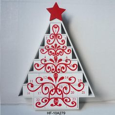 Tree Designed Wooden Christmas Advent Calendar With 24 Drawers