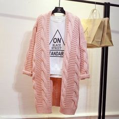 Korean Womens Coats Knitted Long Parka Long Sleeve Cardigan Loose Fit Thicken in Clothing, Shoes & Accessories, Women's Clothing, Coats & Jackets Long Sweaters, Sweaters For Women, Hijab Style, Long Parka, Knitted Coat, Knitted Baby, Cardigan Pattern, Knit Cardigan, Baby Cardigan