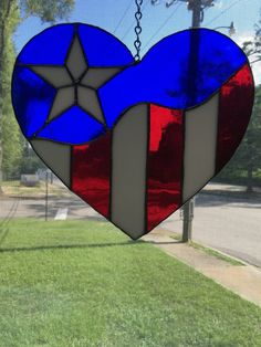 83460935871 Patriotic American Flag suncatcher heart by CarolinaStainedGlass Stained  Glass Crafts