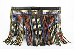 Miu Miu Studded & Fringed Black Leather Clutch Medium