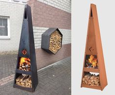 pyramid fire pit design idea katan 35 Metal Fire Pit Designs and Outdoor Setting Ideas