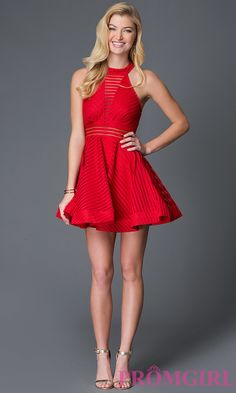 Image of short sleeveless high neck sheer slit detailed open back fit and flare dress Style: LUX-LD1700 Detail Image 2