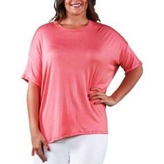 24/7 Comfort Apparel Women's Plus Size Dolman Sleeve Tee, Size: 3XL, Orange