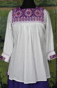 White & Purple Hand embroidered Blouse Mexico Hippie Boho Santa Fe Frida Style #Handmade #blouse