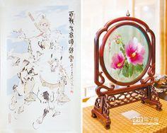 大陸國家主席習近平4日向南韓總統朴槿惠贈送的趙雲畫像(左)和木槿花玻璃工藝品。木槿花是南韓的國花。(CFP)