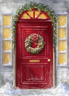 Red doors are so Christmassy Christmas Scenes, Christmas Mood, Christmas Crafts, Christmas Decorations, Illustration Noel, Christmas Illustration, Christmas Drawing, Christmas Paintings, Vintage Christmas Images