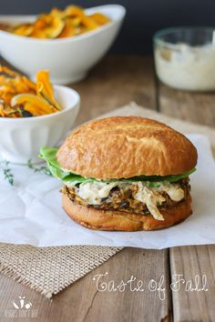 Butternut squash apple burgers with caramelized onion and sage aioli @veggiesdontbite