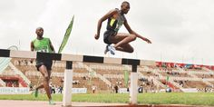 Consensus Kipruto clears the water jump ahead of Gilbert Kirui in the metres steeplechase during the national trials for the World Junior Championships at the Nyayo National Stadium on June 2012 National Stadium, Athletics, Trials, June, Africa, World, Water, Sports, Gripe Water