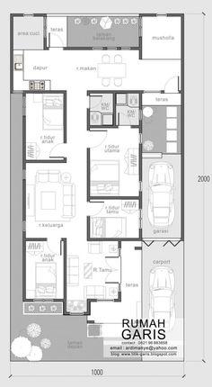 desain lengkap rumah 1 lantai tipe 120 di lahan 10×20 meter | Desain Rumah Garis